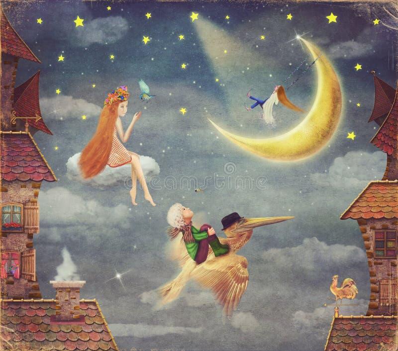 Дети в небе иллюстрация штока
