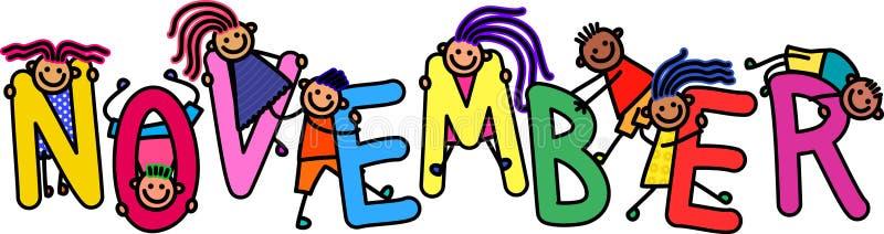 Дети в ноябре иллюстрация штока