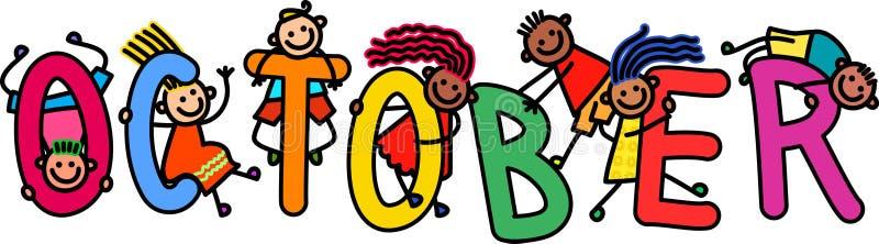 Дети в октябре иллюстрация штока