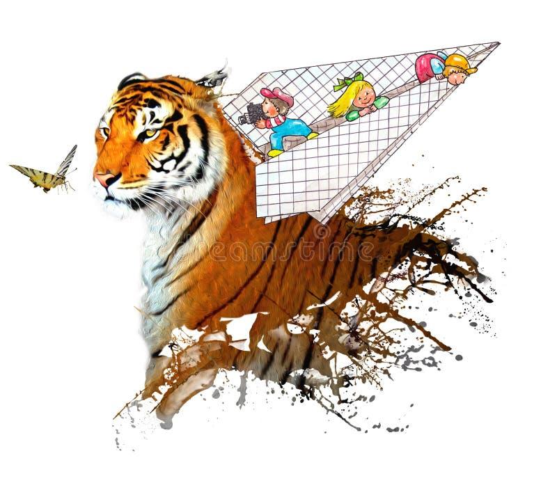 Дети в плоских играх с тигром и бабочкой иллюстрация вектора