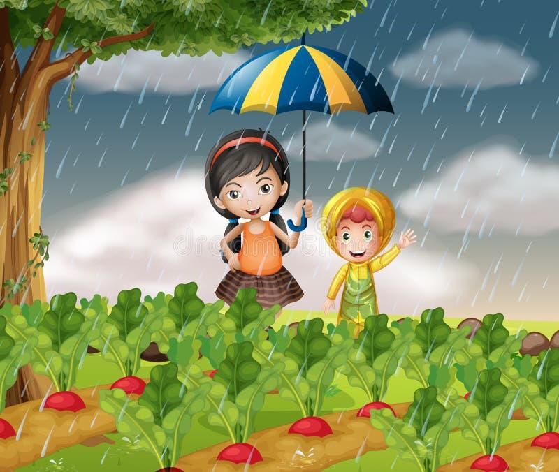 Дети в саде когда оно идет дождь иллюстрация вектора