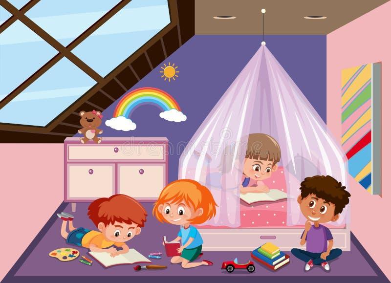 Дети в спальне чердака иллюстрация вектора