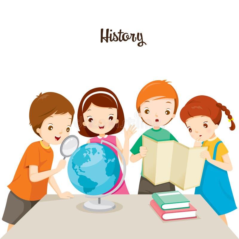 Дети в уроке истории иллюстрация штока