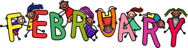 Дети в феврале иллюстрация вектора