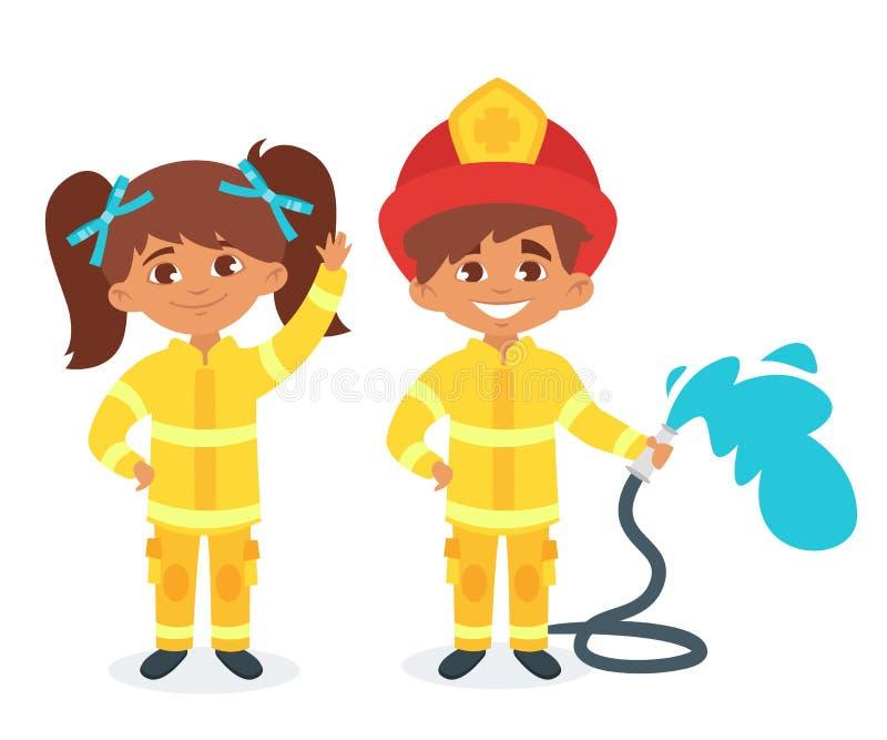 Дети в форме пожарного иллюстрация вектора
