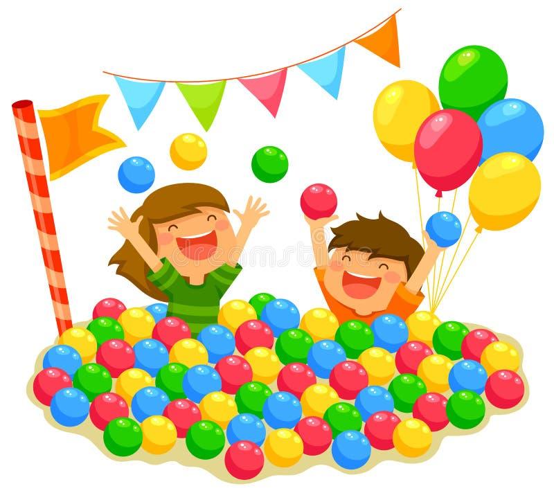 Дети в яме шарика бесплатная иллюстрация