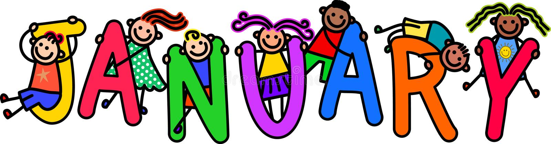 Дети в январе иллюстрация вектора