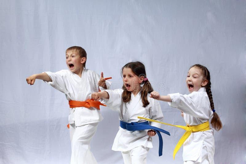 Дети в karategi и с покрашенными поясами тренируют руку дуновений стоковые изображения