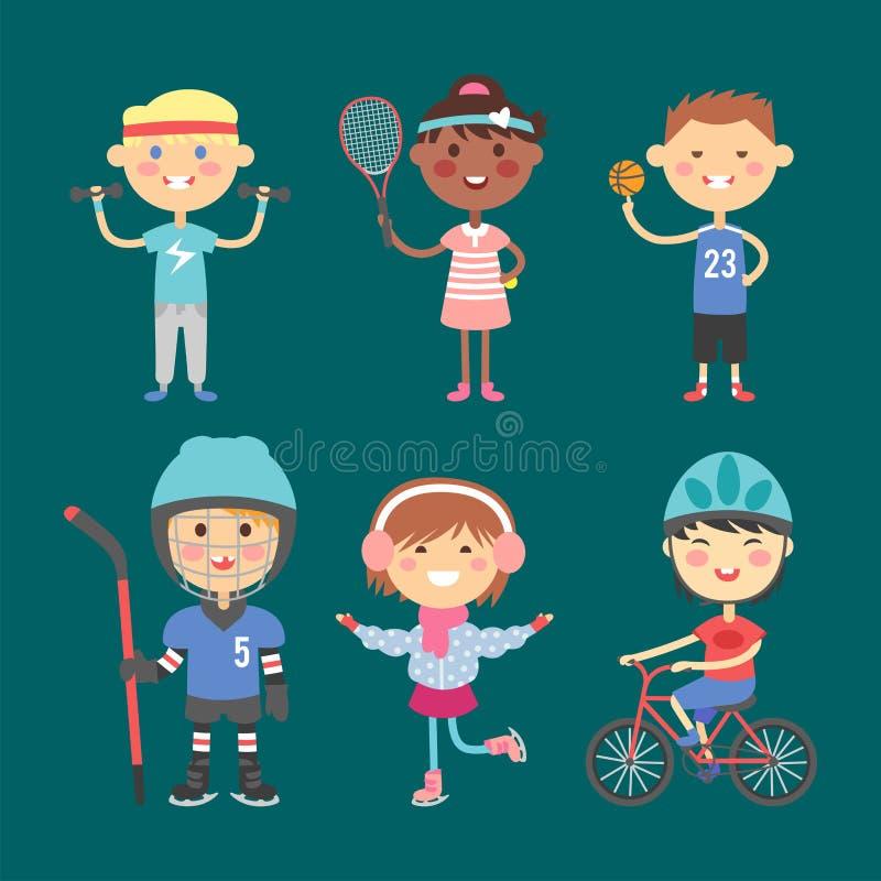 Дети гимнастики коньков ролика sportsmens молодых парней будущие резвятся иллюстрация вектора игроков иллюстрация штока