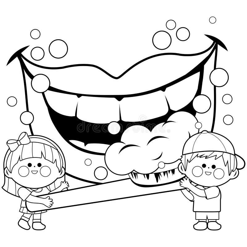 Дети держа зубную щетку и чистя зубы щеткой Страница книжка-раскраски иллюстрация вектора