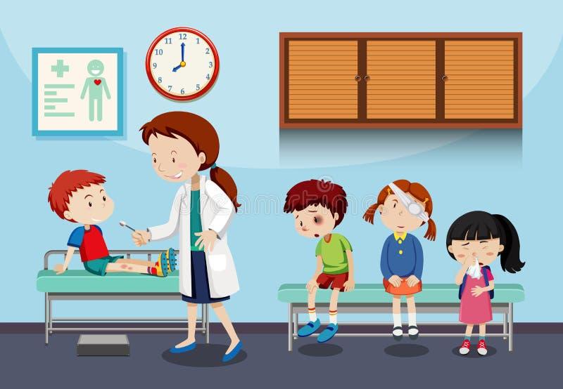Дети доктора помогая иллюстрация штока