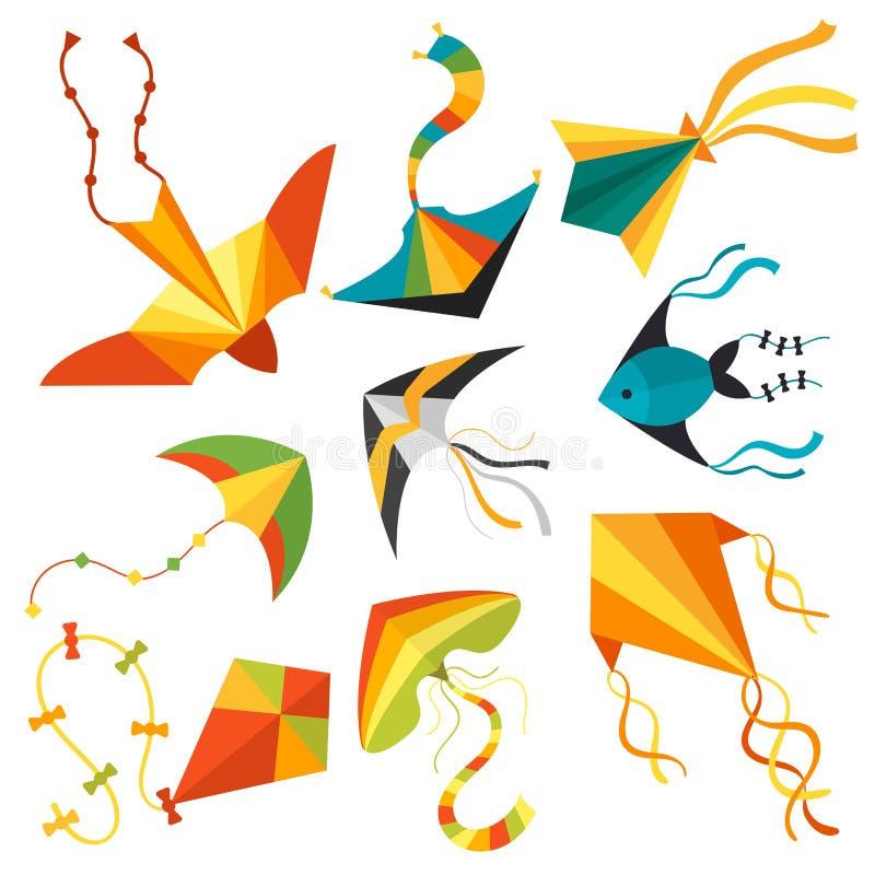 Дети дракона змея змейки змея летания забавляются красочная внешняя иллюстрация вектора деятельности при лета бесплатная иллюстрация