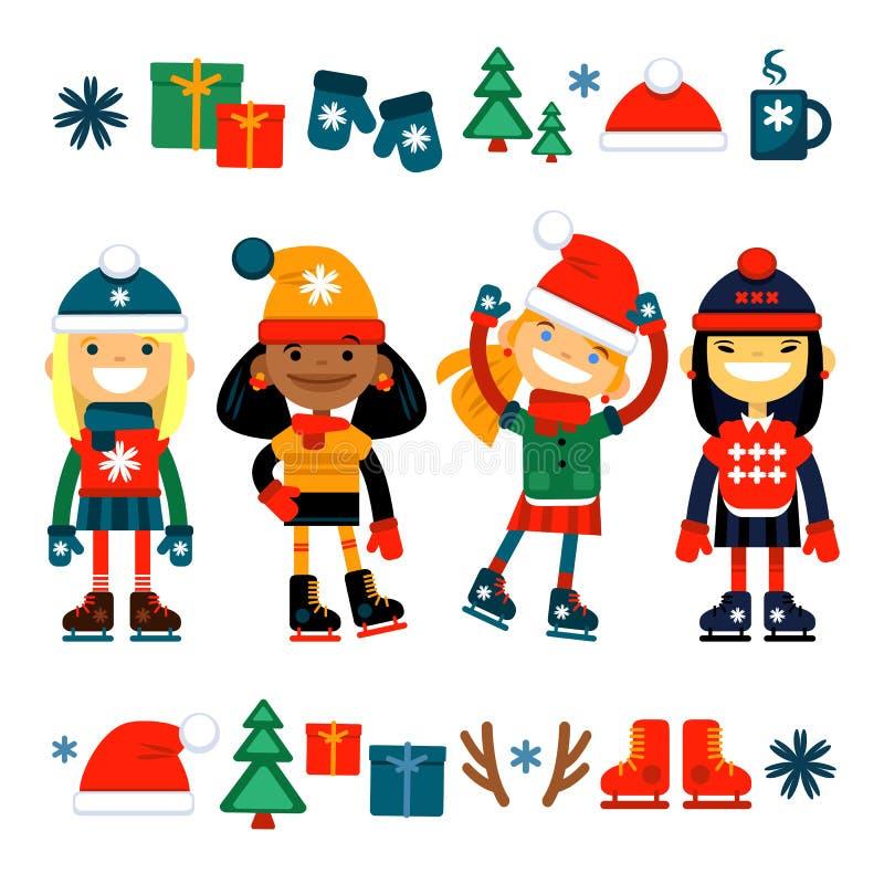 Дети, девушки на собрании коньков ролика белая предпосылка установленные иконы рождества бесплатная иллюстрация