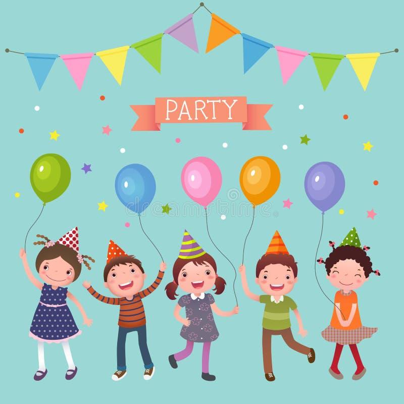 Дети держа красочные воздушные шары на партии иллюстрация вектора