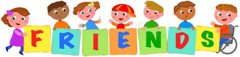 Дети держа покрашенных ДРУЗЕЙ поют иллюстрация вектора