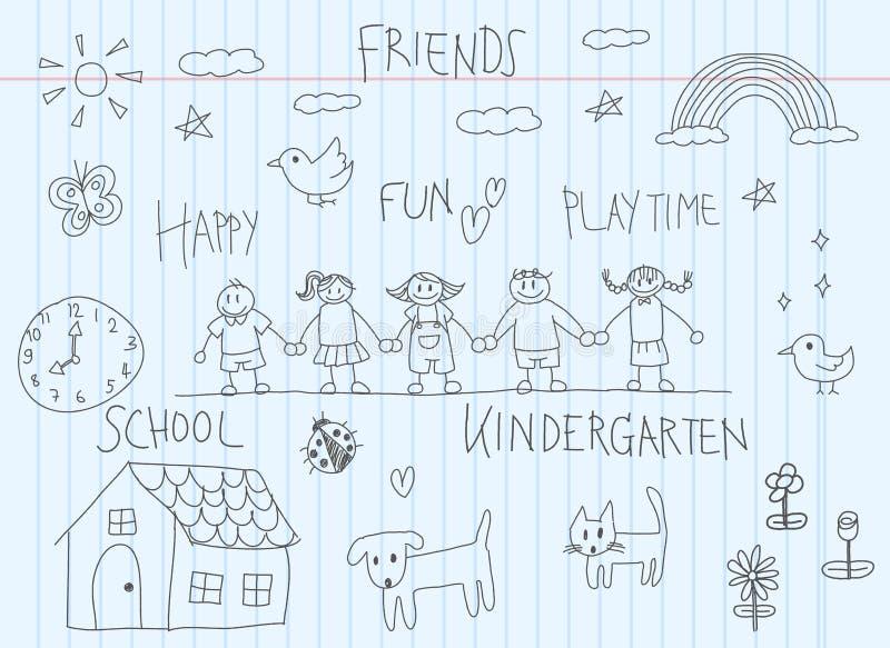 Дети детского сада doodle эскиз чертежа друга и ребенк иллюстрация вектора