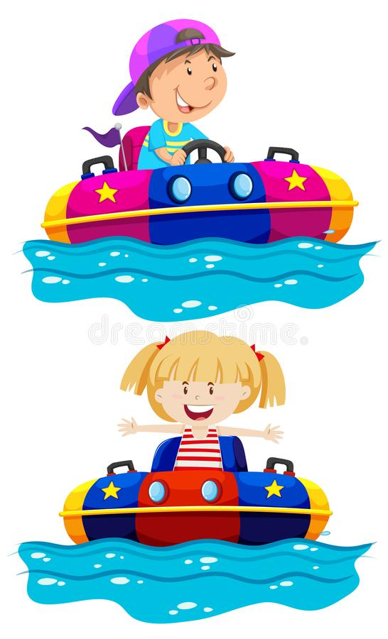 Дети ехать бампер шлюпки бесплатная иллюстрация