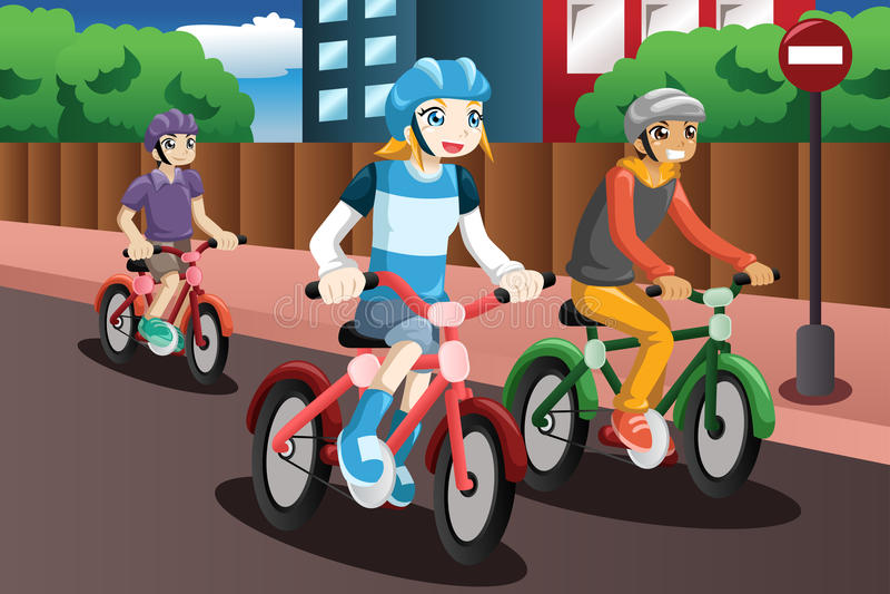 Дети ехать велосипед иллюстрация вектора
