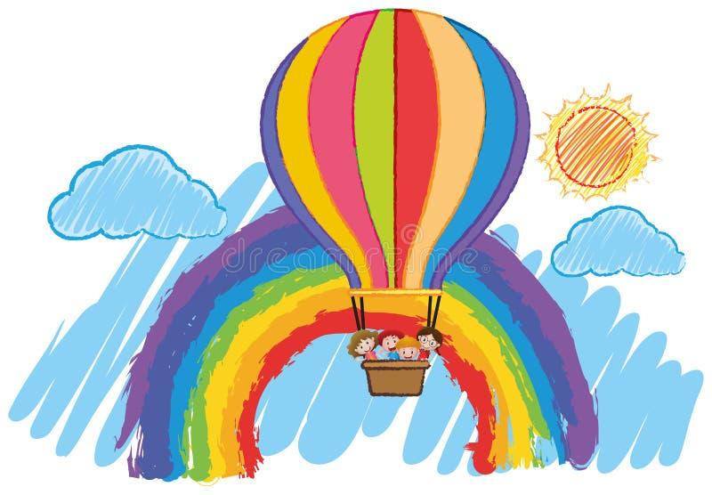 Дети ехать на большом воздушном шаре в небе бесплатная иллюстрация