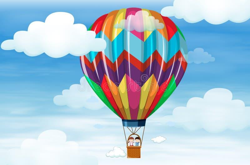 Дети ехать на большом воздушном шаре иллюстрация вектора