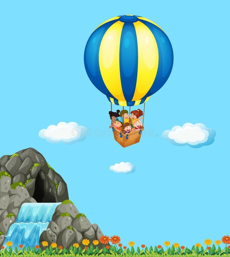 Дети ехать на воздушном шаре в небе иллюстрация вектора