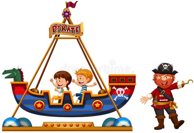 Дети ехать на езде Викинга с пиратом иллюстрация вектора