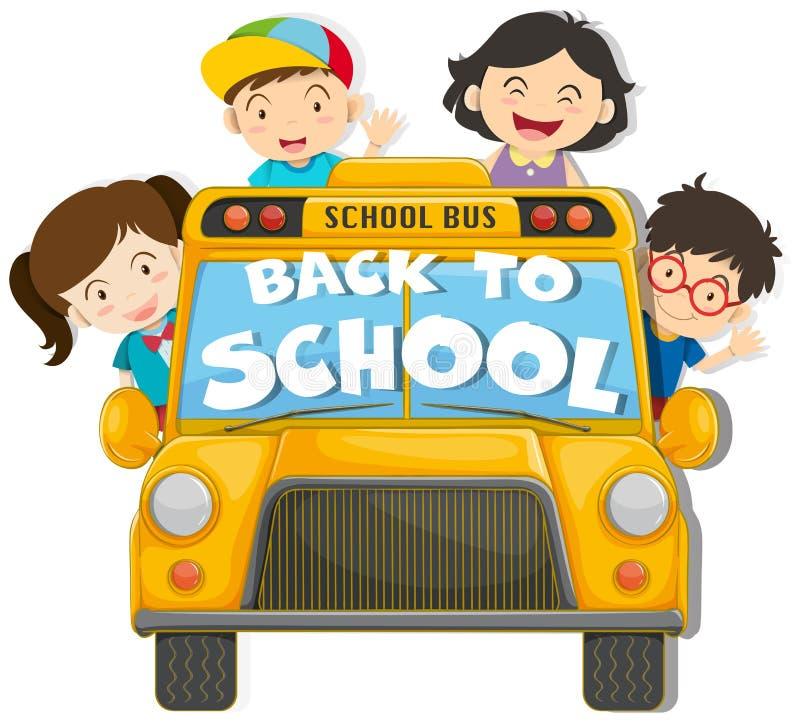 Дети ехать на школьном автобусе иллюстрация вектора
