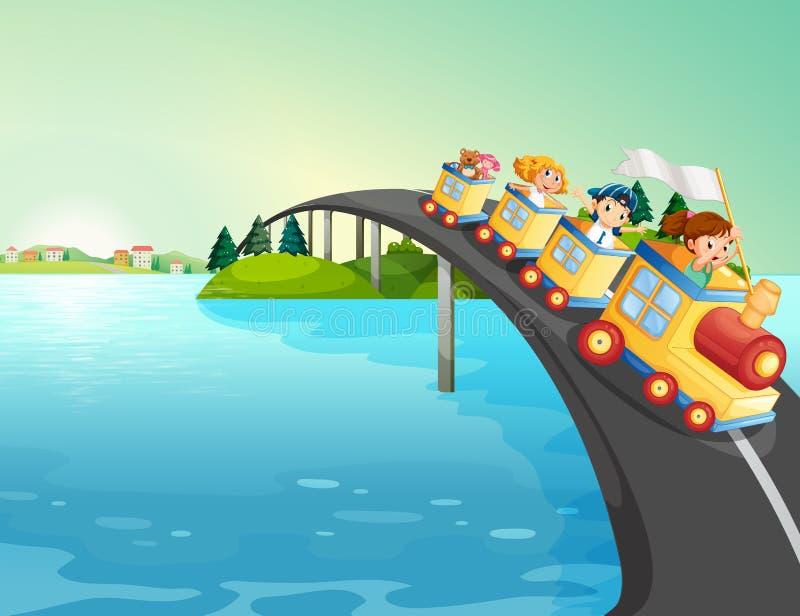 Дети ехать поезд над мостом иллюстрация вектора