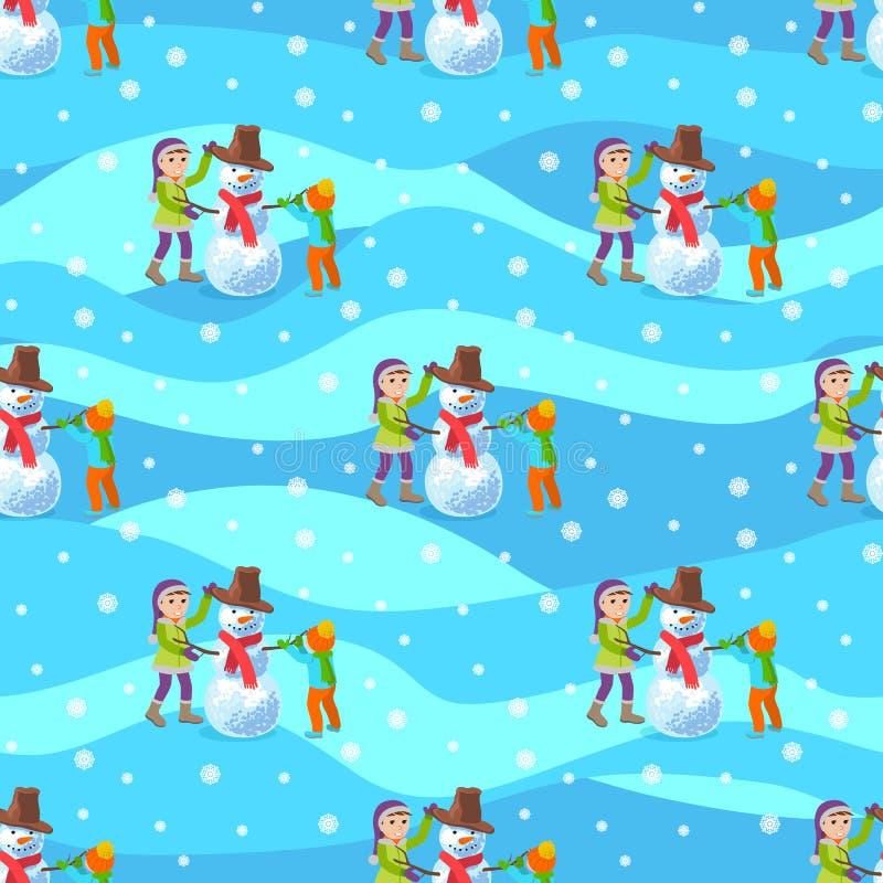 Дети делают снеговик Предпосылка зимы иллюстрации безшовная иллюстрация штока