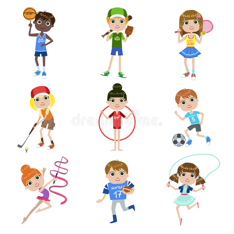 Дети делая установленные спорт бесплатная иллюстрация