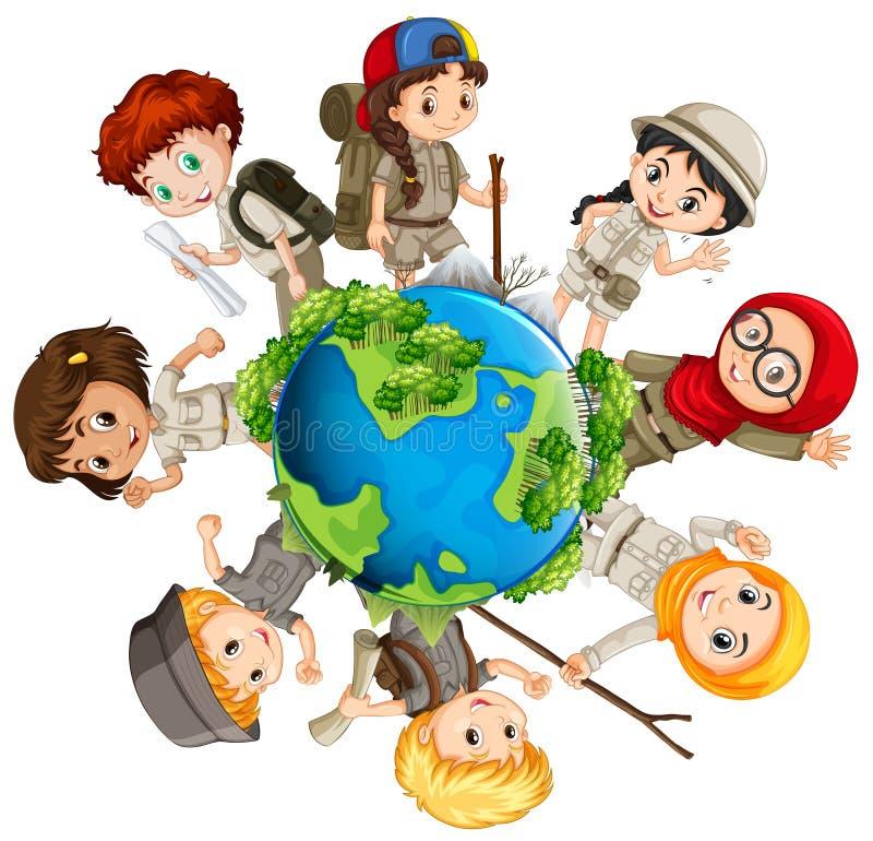 Дети заботя для земли иллюстрация штока