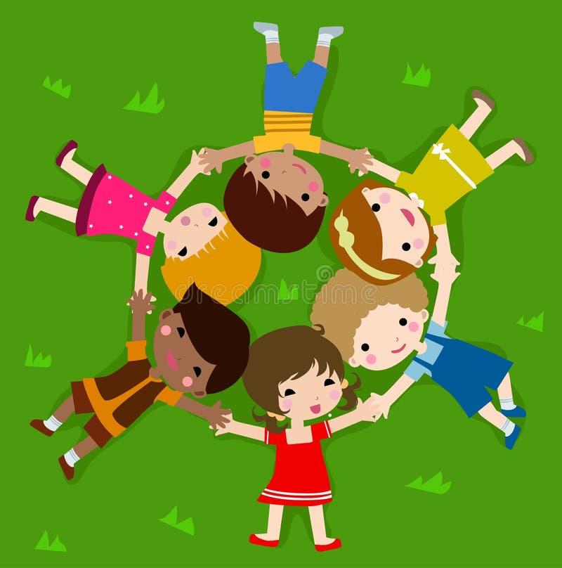 дети засевают лежать травой иллюстрация штока