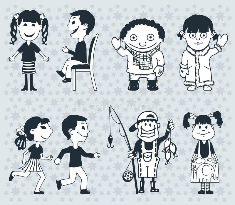 Дети значков Мальчики и girlsVector иллюстрация стоковое фото