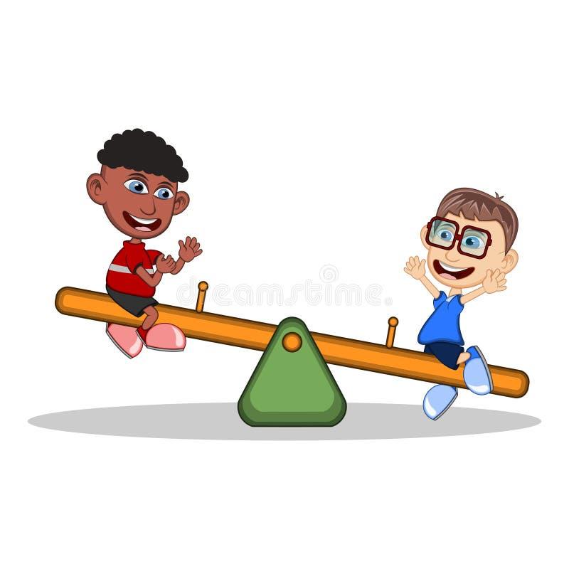 Дети играть видит увидели шарж иллюстрация вектора