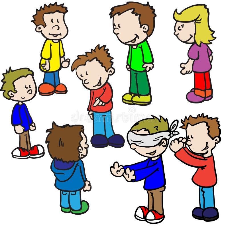 Дети играя буйволовую кожу слепого иллюстрация вектора