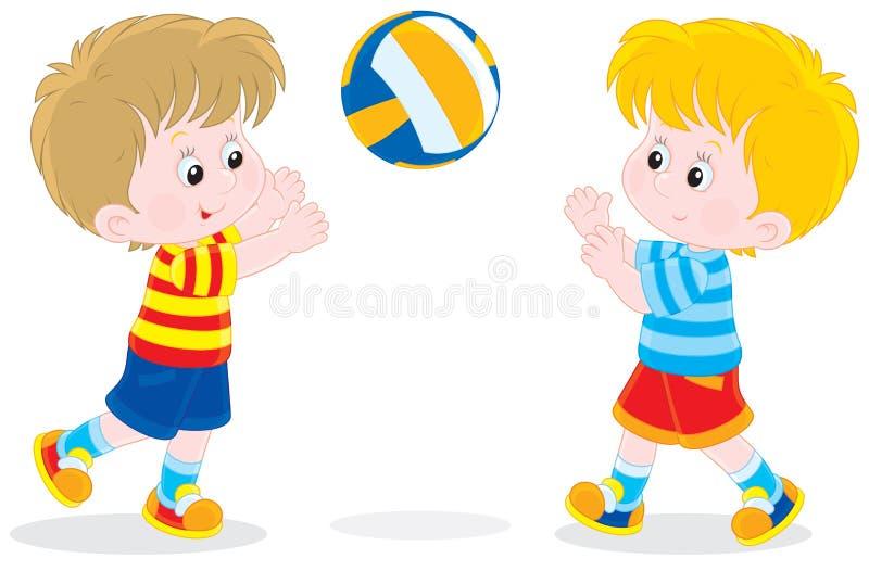Дети играя волейбол бесплатная иллюстрация