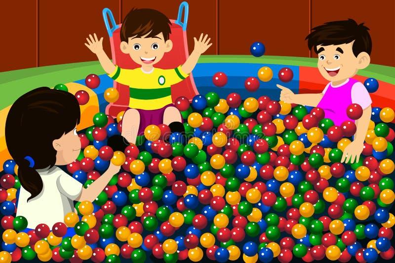 Дети играя в бассейне шарика иллюстрация штока