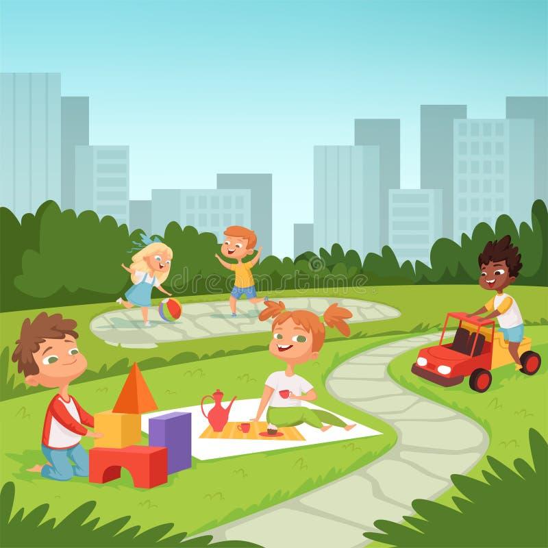 Дети играя в воспитательных играх внешних Различное оборудование для детей иллюстрация штока