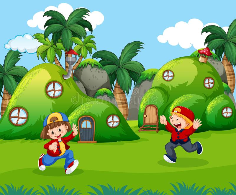 Дети играя в земле фантазии иллюстрация штока