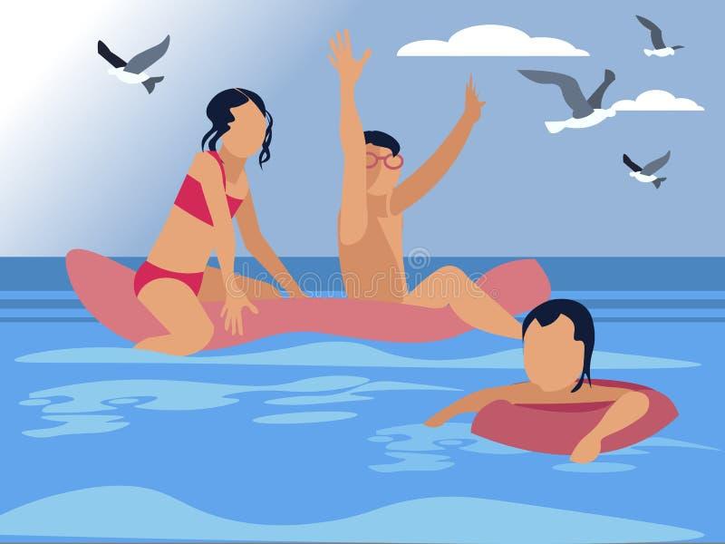 Дети играя в иллюстрации вектора моря лета плоско бесплатная иллюстрация