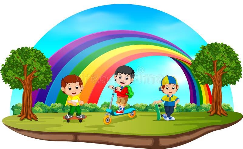 Дети играя в парке на день радуги иллюстрация вектора