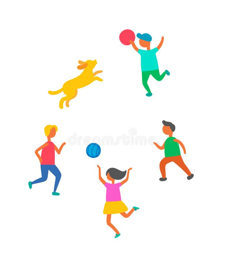 Дети играя в шарике, векторе Outdoors любимца собаки иллюстрация штока