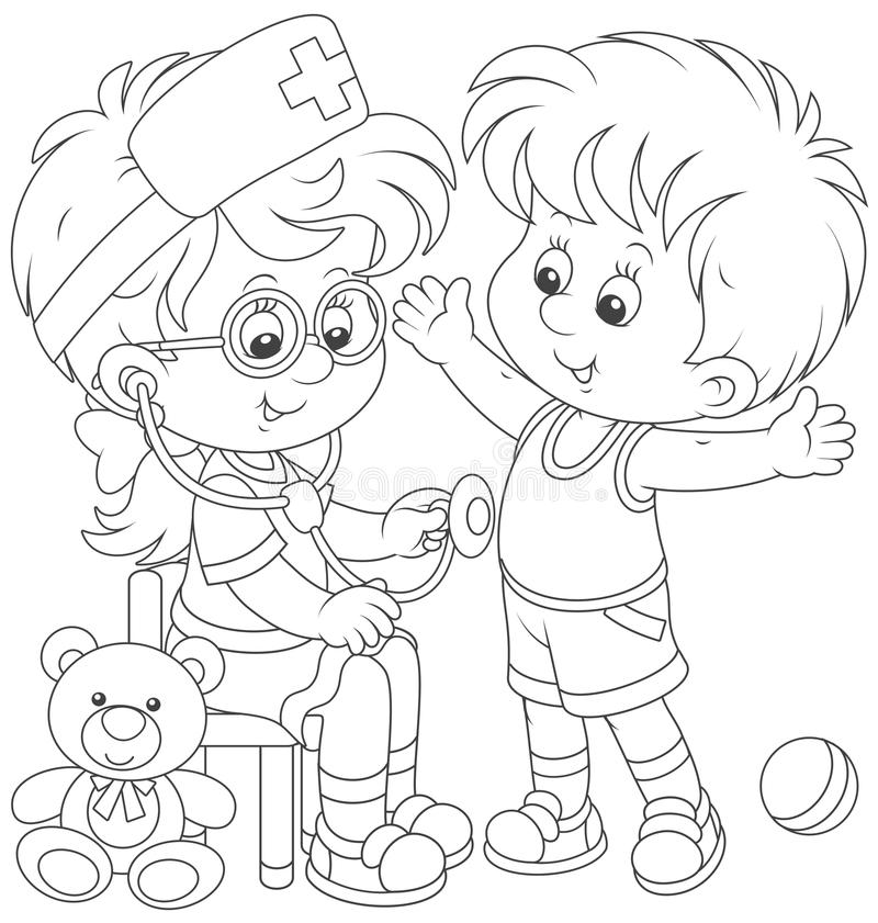 Дети играя доктора и пациента иллюстрация вектора