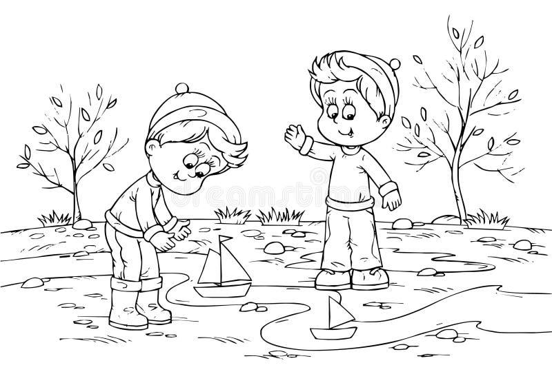 дети играя игрушку кораблей бесплатная иллюстрация