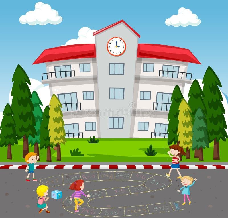 Дети играя игру математики на школе иллюстрация штока