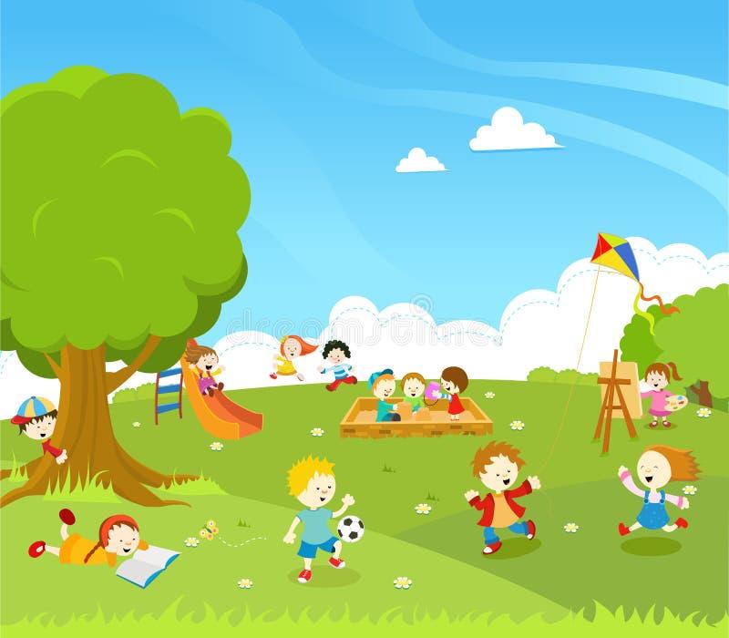 Дети играя на парке иллюстрация вектора