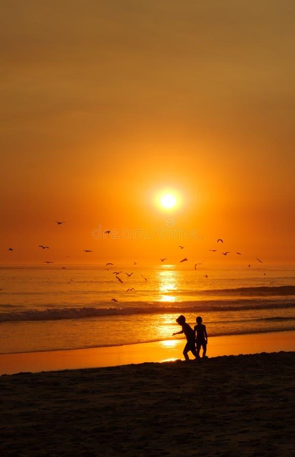 Дети играя на пляже перед оранжевым заходом солнца и чайками стоковая фотография