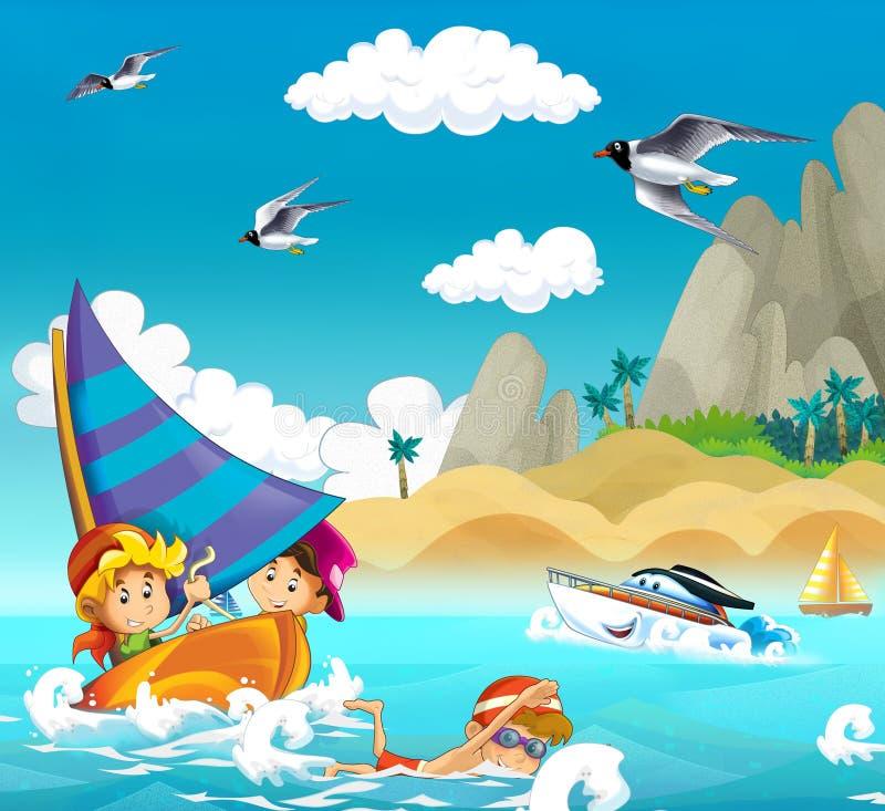 Дети играя на пляже - океане иллюстрация вектора