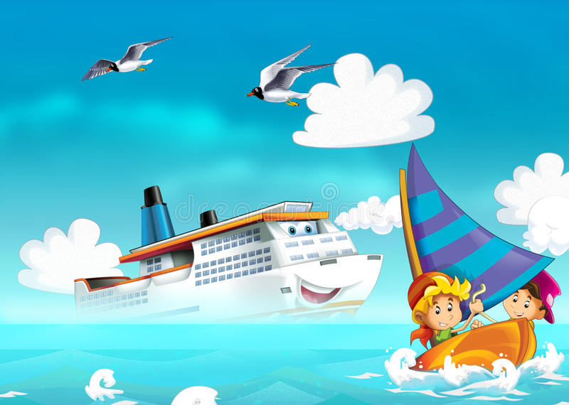 Дети играя на пляже - океане бесплатная иллюстрация