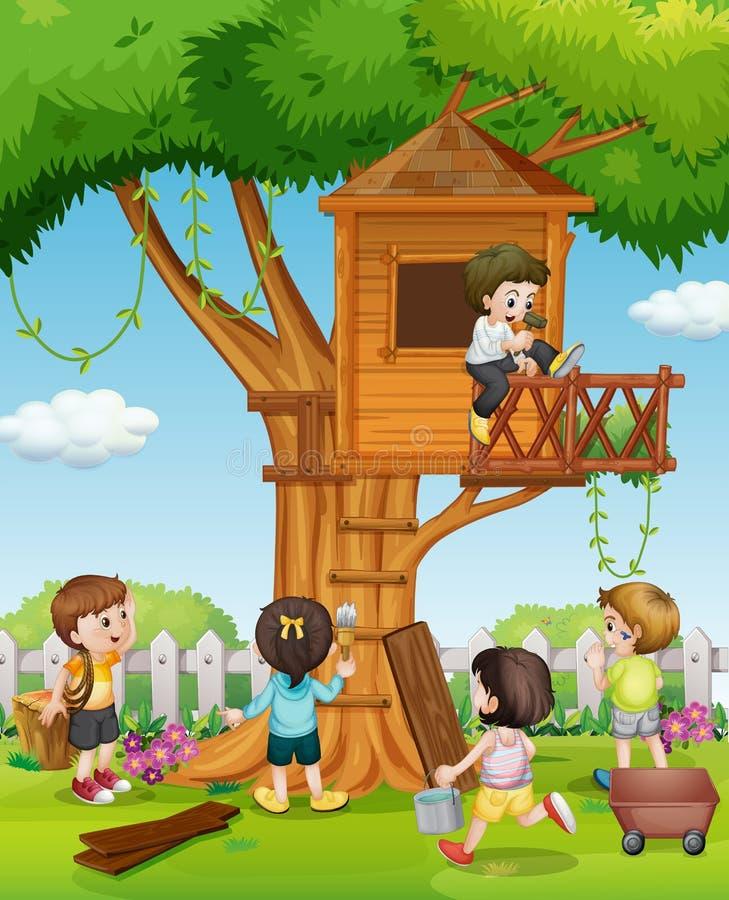 Дети играя на шалаше на дереве в саде иллюстрация штока